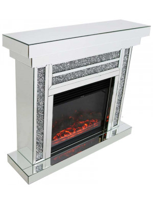 Gatsby Crushed Diamond Fireplace & Electric Fire with Remote Control Home Furniture