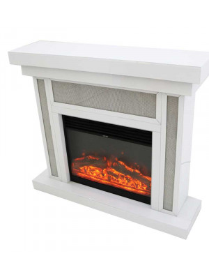 Glamour Fireplace in White & Electric Fire with Remote Control