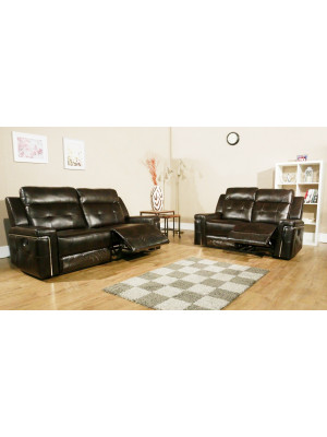 Sierra Leather Air 3+2 Recliner Sofa Set Sofas And Chairs